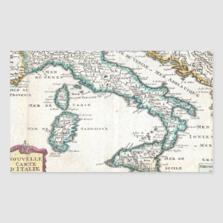 Vintage Map of Italy (1706) Rectangular Sticker