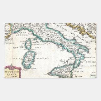 Vintage Map of Italy (1706) Rectangular Sticker