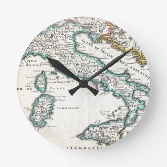 Vintage Map of Italy (1706) Round Clock