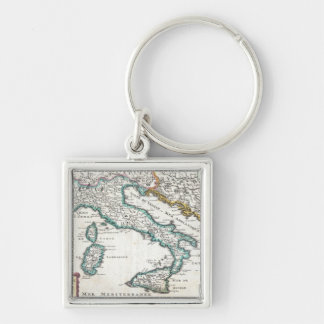 Vintage Map of Italy (1706) Silver-Colored Square Keychain