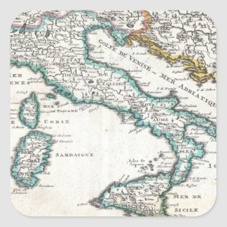 Vintage Map of Italy (1706) Square Stickers