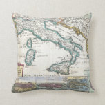 Vintage Map of Italy (1706) Throw Pillows