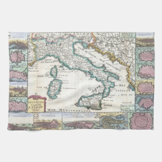 Vintage Map of Italy (1706) Towel