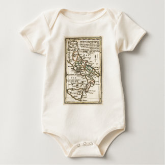 Vintage Map of Italy (1758) Baby Bodysuit