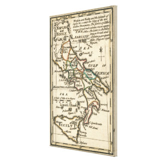 Vintage Map of Italy (1758) Canvas Print