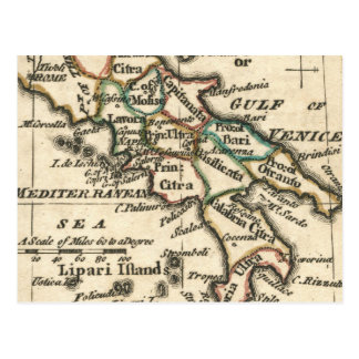Vintage Map of Italy (1758) Postcard