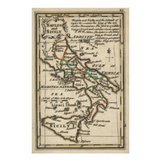 Vintage Map of Italy (1758) Poster