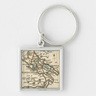 Vintage Map of Italy (1758) Silver-Colored Square Keychain
