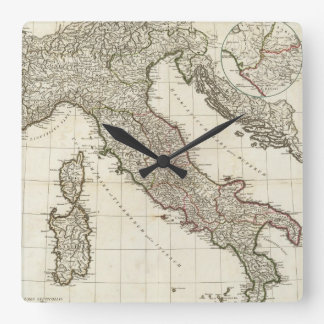 Vintage Map of Italy (1764) Square Wall Clock