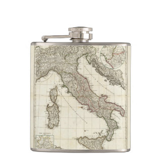 Vintage Map of Italy (1764) Hip Flask