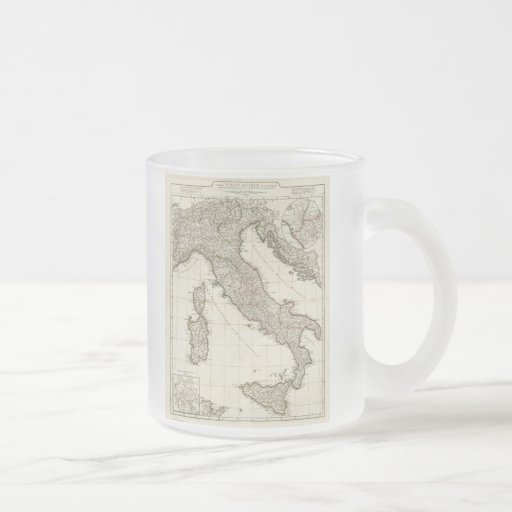 Vintage Map of Italy (1764) 10 Oz Frosted Glass Coffee Mug