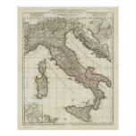 Vintage Map of Italy (1764) Poster