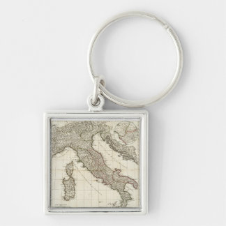 Vintage Map of Italy (1764) Silver-Colored Square Keychain