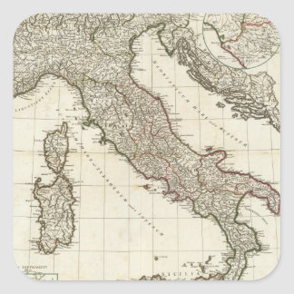 Vintage Map of Italy (1764) Square Sticker