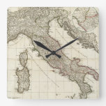 Vintage Map of Italy (1764) Square Wall Clocks