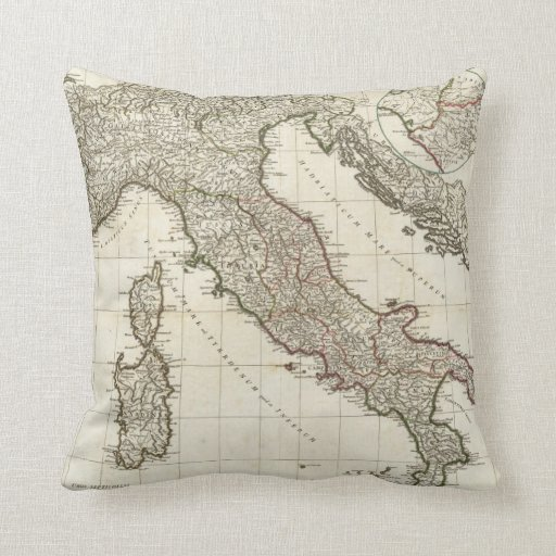 Vintage Map of Italy (1764) Throw Pillows