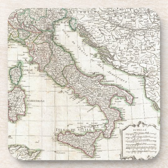 Vintage Map of Italy (1770) Beverage Coaster