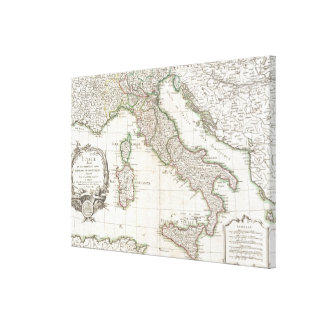 Vintage Map of Italy 1770 Gallery Wrapped Canvas