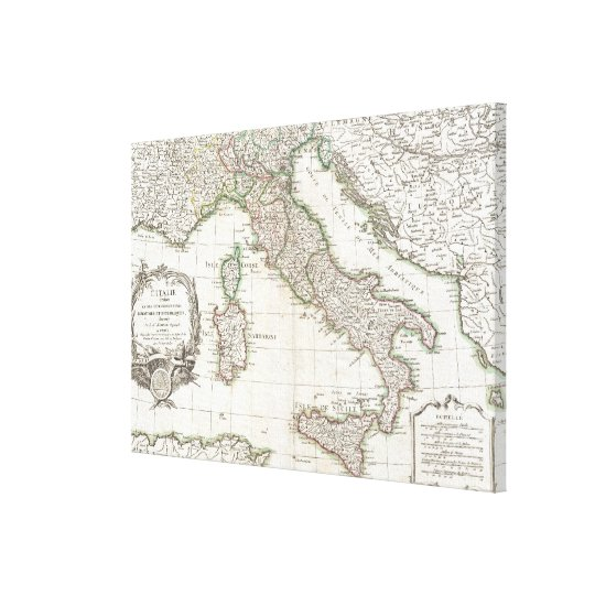 Vintage Map of Italy (1770) Canvas Print