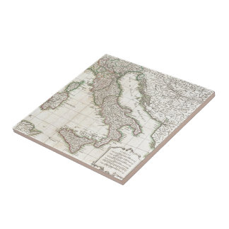 Vintage Map of Italy (1770) Ceramic Tile