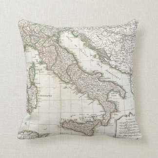 Vintage Map of Italy (1770) Throw Pillows
