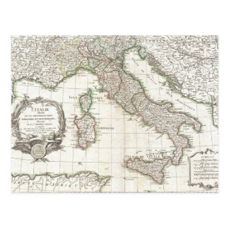 Vintage Map of Italy (1770) Postcard