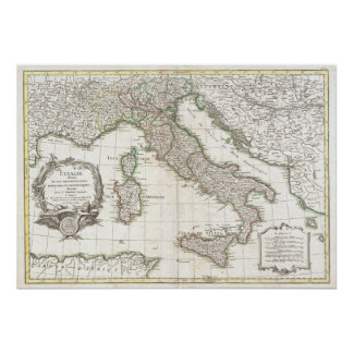 Vintage Map of Italy (1770) Poster