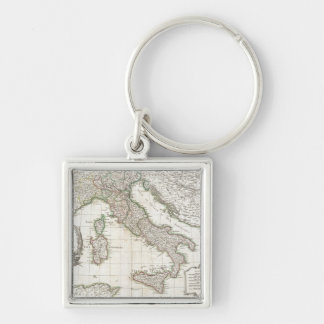 Vintage Map of Italy (1770) Silver-Colored Square Keychain