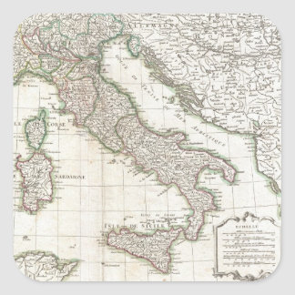 Vintage Map of Italy (1770) Square Sticker