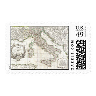 Vintage Map of Italy (1770) Stamp