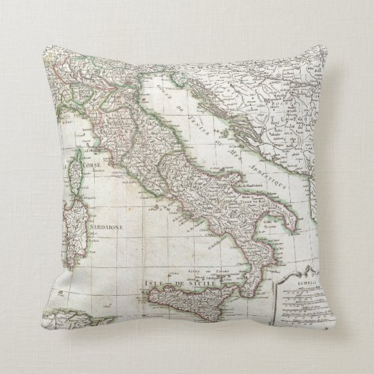 Vintage Map of Italy (1770) Throw Pillow