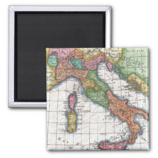 Vintage Map of Italy (1780) 2 Inch Square Magnet