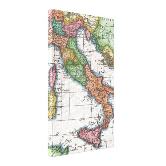 Vintage Map of Italy (1780) Canvas Print