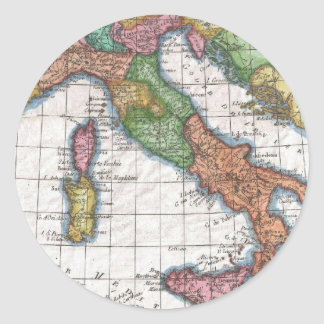 Vintage Map of Italy (1780) Classic Round Sticker