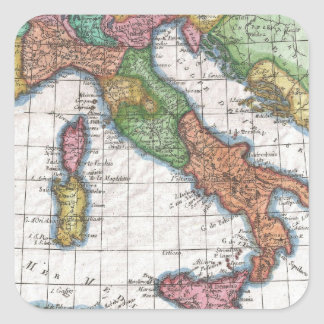 Vintage Map of Italy (1780) Square Sticker