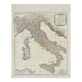 Vintage Map of Italy (1794) Poster