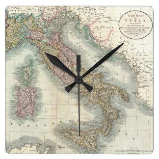 Vintage Map of Italy (1799) Square Wallclock