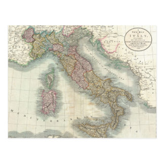 Vintage Map of Italy (1799) Postcard