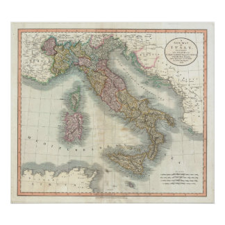 Vintage Map of Italy (1799) Poster