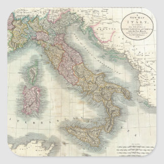 Vintage Map of Italy (1799) Square Sticker