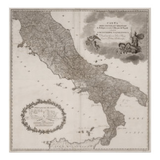 Vintage Map of Italy (1808) Poster