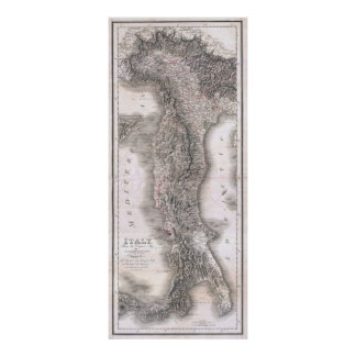 Vintage Map of Italy (1814) Poster