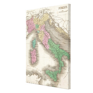 Vintage Map of Italy (1827) Canvas Print