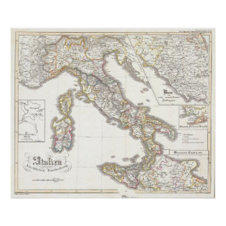 Vintage Map of Italy (1850) Poster