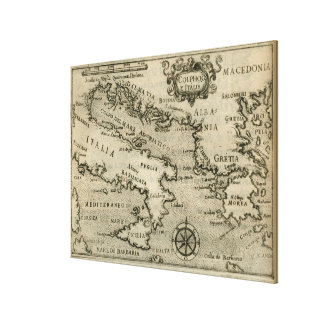 Vintage Map of Italy and Greece (1587) Canvas Print