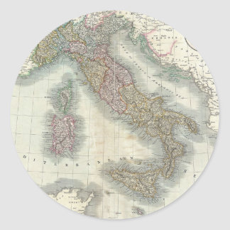 Vintage Map of Italy Classic Round Sticker