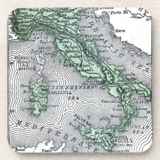 Vintage Map of Italy Beverage Coasters