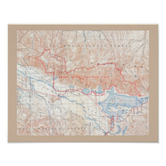 Vintage Map of Jackson Hole & Grand Tetons Poster