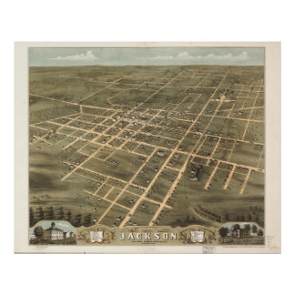 Vintage Map of Jackson Tennessee (1870) Poster
