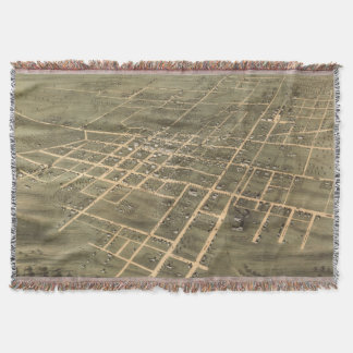 Vintage Map of Jackson Tennessee (1870) Throw Blanket
